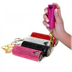 Bling Sting Pepper Spray only $23.99 each! 1/2 Ounce OC Pepper Spray- 10% concentration- 2MM SHU- Rhinestone covered case- Key chain clip attached