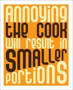 Kitchen Art Print, Kitchen Quote, 11x14 Typography, Orange, Green, or Blue Funny Typography Kitchen Wall Decor