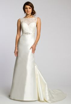 Mikado Sweetheart Dress with Beaded Lace Bodice