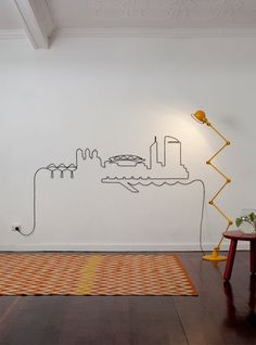A nice way to display electrical cord which is normally unsightly.