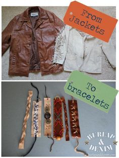 Cut up old Leather Jackets and make Bracelets