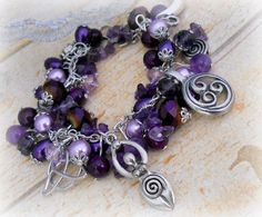 Symbols of the Goddess bracelet in amethyst by SpellboundOriginalz