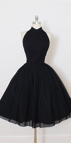 Black homecoming dress - A Line Open Back Black Halter Homecoming Dress, Short Prom Dress CR 642 – Black homecoming dress Dresses Elegant, Simple Dresses, Pretty Dresses, Beautiful Dresses, Short Dresses, Winter Ball Dresses, Black Party Dresses, Dress Winter, Backless Prom Dresses