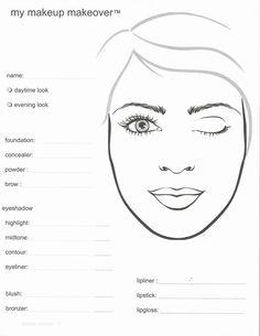Face Charts Template Makeup Facechart 101 Looks