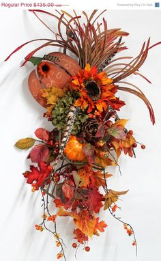 Autumn Front Door Wreath Beaded Indian Corn by FloralsFromHome