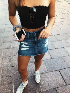 black tube top with jean skirt and vans e882081e6453