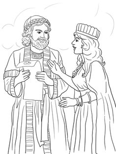 Esther and Mordecai with King's Edict coloring page from Queen Esther category. Select from 20946 printable crafts of cartoons, nature, animals, Bible and many more.