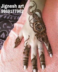 Ideas For Bridal Henna Mehendi Painting Art Khafif Mehndi Design, Floral Henna Designs, Finger Henna Designs, Arabic Henna Designs, Mehndi Designs For Fingers, Modern Mehndi Designs, Mehndi Design Pictures, Wedding Mehndi Designs, Dulhan Mehndi Designs