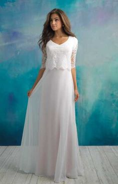 Our collection of modest bridal gowns are designed to provide extra coverage without sacrificing style. View our conservative wedding dress styles online today! Rose Gold Wedding Dress, Boho Wedding Dress With Sleeves, Modest Wedding Gowns, Long Sleeve Wedding, Designer Wedding Dresses, Bridal Dresses, Prom Dresses, Champaign Wedding Dress, 2 Piece Wedding Dress