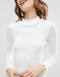 Image 3 ofASOS Jumper In Rib With Ruffle Neck