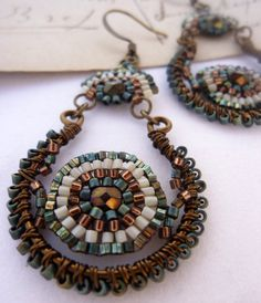 Peacock Bead Woven Earrings - Wire Wrapped Earrings - Beaded Earrings - Miyuki Beads - Bead Weaving. $38.00, via Etsy.