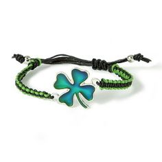 What mood will you be in on St Patricks Day? Find out with this Shamrock Mood Cord Bracelet