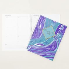 Blue and Teal Watercolor Marble Planner - marble gifts style stylish nature unique personalize