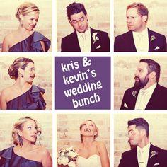 """""""Brady Bunch"""" photo of wedding party"""