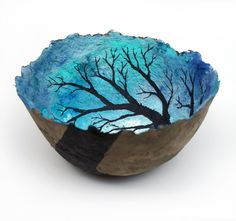 Originally a paper Mache bowl but a great design for any bowl in the studio.