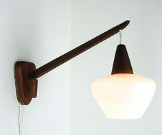 Vintage Danish 1950s Glass Amp Teak Wall Lamp Modern Mid Century Wegner Juhl 60s Ebay Mid
