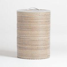 Sedona White Hamper + Reviews   Crate and Barrel Wicker Laundry Hamper, Wicker Baskets, Laundry Baskets, Storage Baskets, Laundry Basket With Lid, Lp Storage, Record Storage, Laundry Rooms, Storage Containers