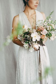 """from the garden"" flowers are tamed by a pale pink and chocolate palette, and ladylike layered silk ribbons."