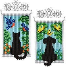 Silhouette Beaded Banner Kits, Set of 2 - Herrschners Pony Bead Patterns, Peyote Patterns, Beading Patterns, Cross Stitch Patterns, Pony Bead Crafts, Beaded Crafts, Beaded Ornaments, Beaded Banners, Native Beadwork