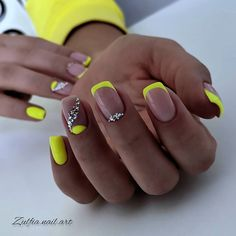 Chic Nails, Stylish Nails, Trendy Nails, Neon Acrylic Nails, French Acrylic Nails, Neon Nail Art, Square Acrylic Nails, French Tip Nails, May Nails