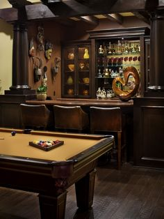 Man Cave, Love the masks aside the bar, totally my style.