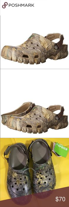 Crocs Unisex Offroad Clog Men's 13, Women's 15 The Offroad Sport Realtree Xtra Clog features refreshed styling with the same outdoorsy attitude. Croslite foam construction makes it light and comfortable. Genuine Realtree Xtra camo pattern Adjustable turbo strap lets you dial in the right fit Rugged lug outsole pattern. Iconic comfort: original Croslite foam cushion. Original box not available. CROCS Shoes Sandals & Flip-Flops