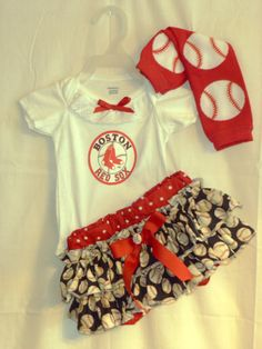Boston Redsox Boutique Ruffled Bloomer Outfit,  Sizes NB upto a size 4   ANY TEAM  Baseball, Gameday OUtfits