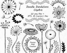 Hand getrokken Doodle paardebloemen Clipart, bloem silhouetten, Doodle bloemen, PNG, EPS, AI, vector, persoonlijk en commercieel gebruik