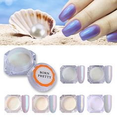 Mermaid Powder Dust Pearl Shell Glimmer Nail Art Pigment Shimmer Manicure Tips Mirror Nails Powder, Chrome Nail Powder, Powder Manicure, Chrome Nails, Nail Manicure, Diy Nails, Mermaid Nail Powder, Mermaid Nails, Mermaid Glitter