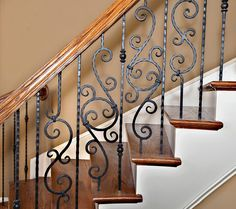 Give your stairs that old world classic touch with powder coated wrought iron balusters Wrought Iron Staircase, Stairs Design, Wrought Iron Stairs, Staircase Railings, Iron Pergola, Iron Doors, Iron Decor