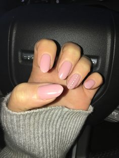 Nude Pink Nails - White Pearls on Ring Fingers