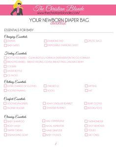 Link: http://thechristianblonde.com/diaper-bag-checklist-newborn-2/ Free Printable Checklist, How To Pack A Diaper Bag For Newborns, Blog, Blogger, Motherhood, Parenting, Maternity, Pregnancy