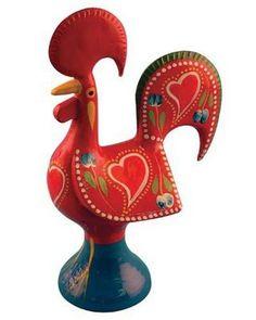 Metal Galo De Barcelos - Portuguese Good Luck Rooster - Portugal Roosters - Rooster of Barcelos (Red, 20 cm / 7.87 in)