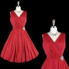 Vintage 50s Red Chiffon Dress