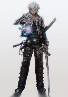 #male #sword #mage #white-hair