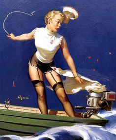 """Free US shipping Stylish Handprinted Cotton Art Reproduction Applique Vintage Sexy Pin-up Girl Gil Elvgren, """"A fast takeoff"""", 1954. $9.00, via Etsy."""