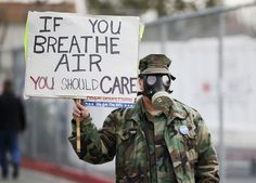 Methane has been leaking from the Aliso Canyon natural gas storage facility in Los Angeles since October 2015, leading to reported health issues for local residents, serious concerns about climate impacts, and protests by members of the public. Photo: Danny Moloshok/Reuters  #ecology #environment