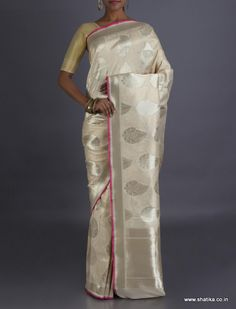 Aliya Silver Leaf In Moonlight #RealZari Brocade #BanarasiSilkSaree