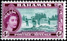 Stamp: Water Sports - Skiing (Bahamas) (Queen Elizabeth II and Landscapes Issue Mi:BS 152 Commonwealth, Crown Colony, New Providence, British Overseas Territories, Bahamas, King George, West Indies, Queen Elizabeth Ii, Stamp Collecting