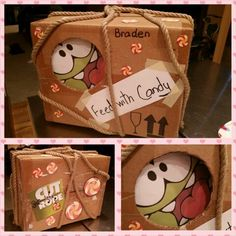 """""""Cut the Rope"""" Om Nom Valentine Box my son made with an old box, rope, masking tape, hot glue gun and some cutouts from a coloring book. The hole where Om Nom is peeking out of is where the Valentines will go in. 5th Birthday, Birthday Parties, Cut The Ropes, Old Boxes, Valentine Box, Glue Gun, Masking Tape, Coloring Books, Nom Nom"""