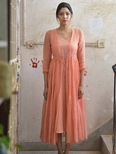 Peach Double Layered Chanderi Cotton Maxi Dress with Inner - Set of 2