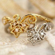 【送料無料】<br>ローズカットダイヤモンドリング<br>対応金種:K18ホワイトゴールド/K18イエローゴールド/K18ピンクゴールド(写真はYG、WG)<br>対応サイズ:6~15号