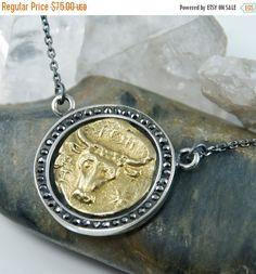 CYBER MON. SALE Horoscope Taurus Medallion Necklace, 18K Gold - 925 Sterling Silver - Black CZs, Taurus the Bull, Horoscope Jewelry