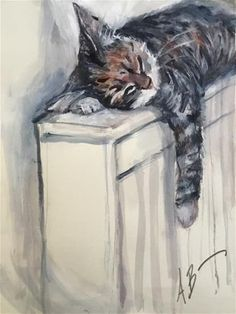 """Daily Paintworks - """"Will sleep anywhere cat"""" - Original Fine Art for Sale - © Annette Balesteri #CatArt"""