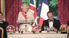 youtube:  The British Monarchy Channel-The Queen's speech at the French State Banquet, June 6, 2014-Queen Elizabeth speaks in both English and French as she remembers her previous visits, D-Day, and pays tribute to France