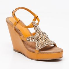 Sandalias de cuña de piel amarillas