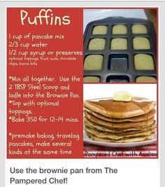 Pampered Chef Brownie Pan pancakes www.pameredchef.biz/leslyesternpc: