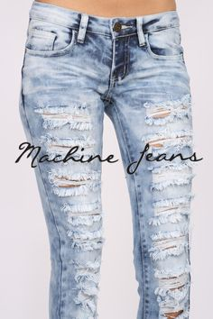 (amr) Low rise medium acid wash jeans with extreme distressing