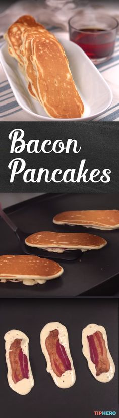 Use turkey bacon & protein pancake mix. Be careful not to cook only the pancakes. Otherwise, the bacon will be left raw. Breakfast For A Crowd, Bacon Breakfast, Breakfast Items, Food For A Crowd, Best Breakfast, Breakfast Recipes, Pancakes And Bacon, Pancakes Easy, Bacon Pancake