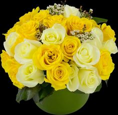 different shades of yellow roses, greenery and wax flowers for filler centerpieces